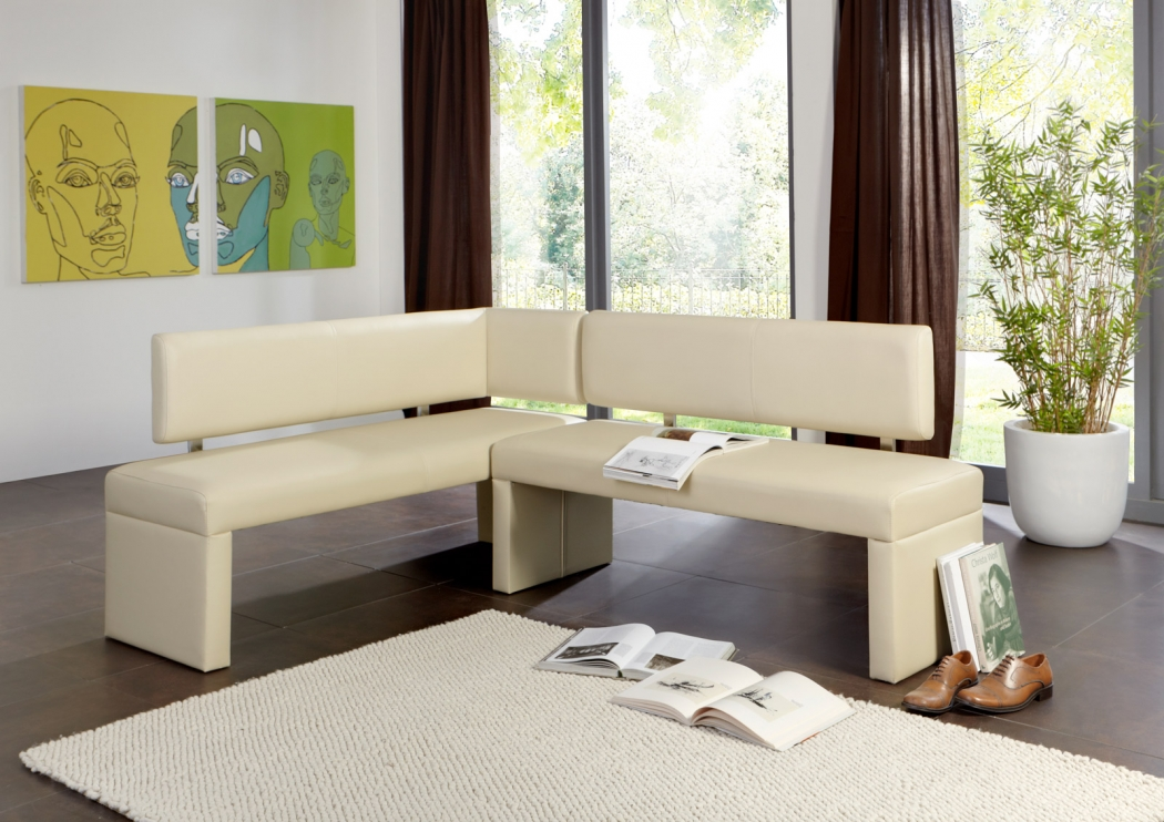 sam eckbank modern creme 195 x 152 cm recyceltes leder sandra demn chst. Black Bedroom Furniture Sets. Home Design Ideas