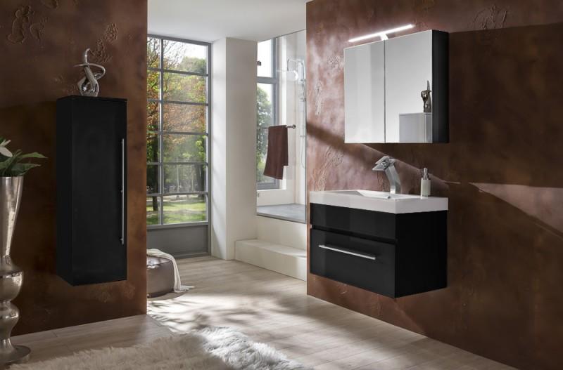 sam 3tlg badezimmer set spiegelschrank schwarz 80 cm lunar. Black Bedroom Furniture Sets. Home Design Ideas