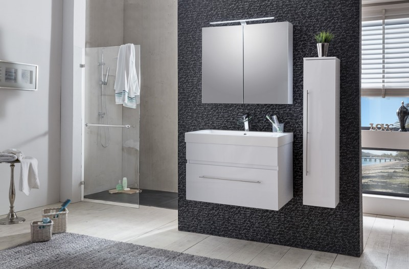 sam 3tlg badezimmer set spiegelschrank wei 80 cm lunik. Black Bedroom Furniture Sets. Home Design Ideas