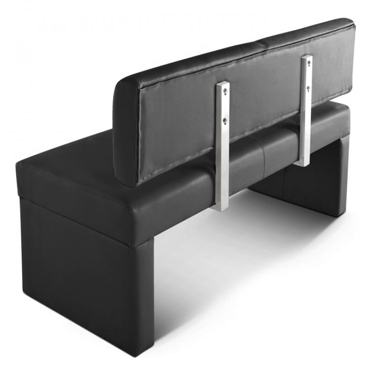 SAM® Sitzbank mit Lehne 80 cm schwarz recyceltes Leder SOFIA