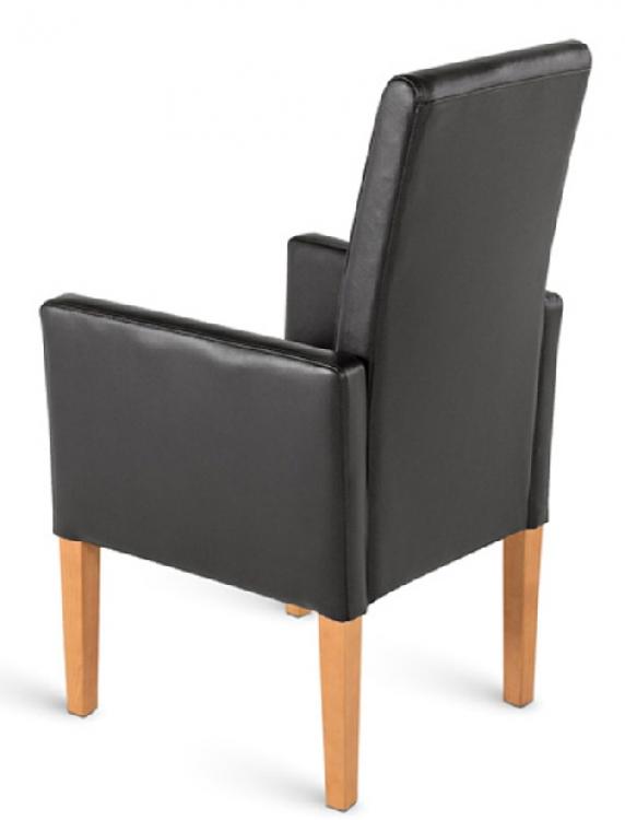 Sam esszimmerstuhl armlehnstuhl schwarz recyceltes leder for Armlehnstuhl leder esszimmer