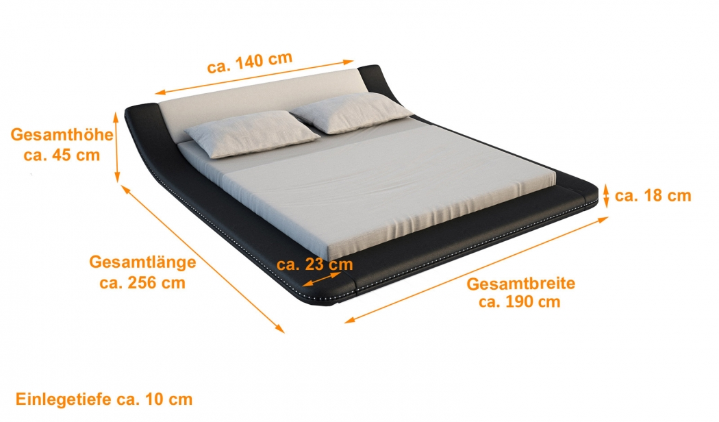 sam polsterbett 140 cm innocent custo led farbauswahl. Black Bedroom Furniture Sets. Home Design Ideas