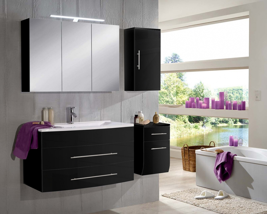 sam badezimmer z rich 4tlg schwarz 100 cm g nstig. Black Bedroom Furniture Sets. Home Design Ideas