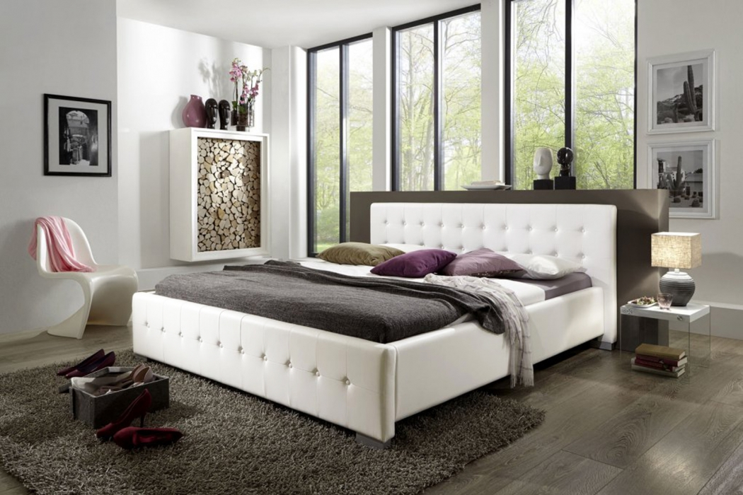 sam polsterbett 140 x 200 cm wei bettgestell rimini. Black Bedroom Furniture Sets. Home Design Ideas