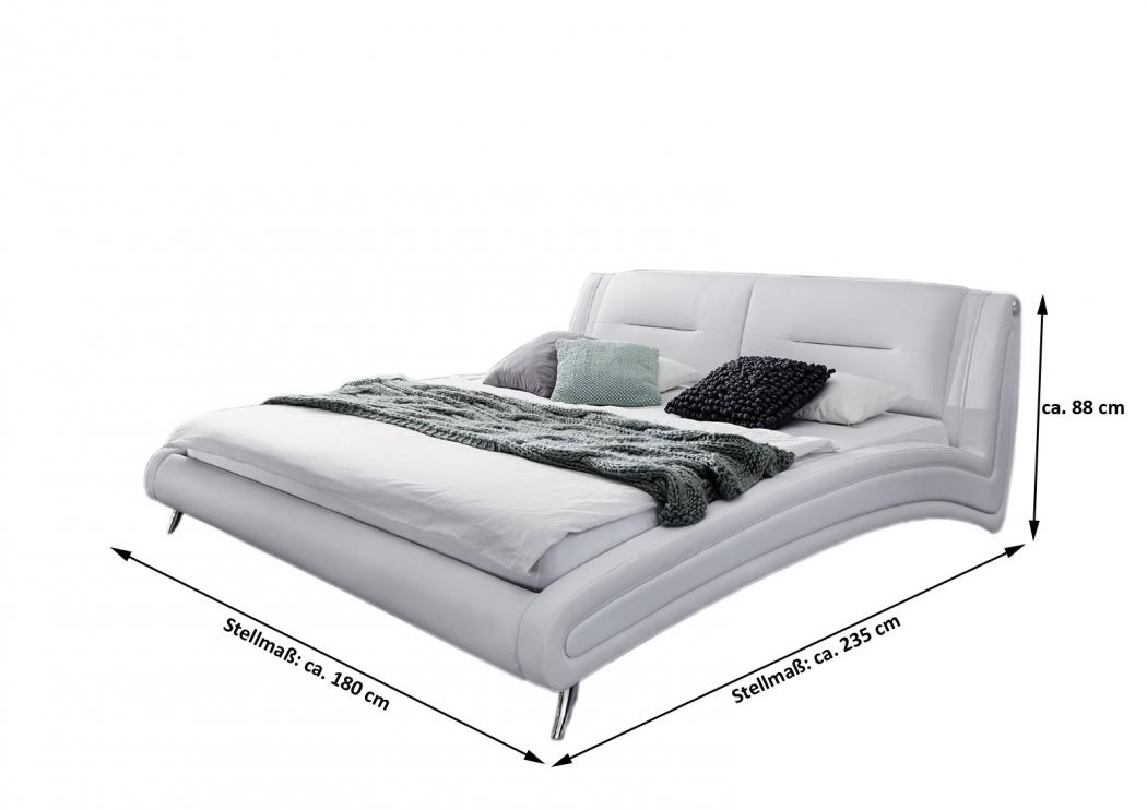 sale bett doppelbett polsterbett 140 x 200 cm weiß/schwarz swing, Hause deko