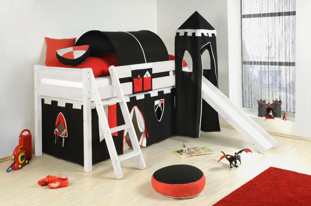 sam kinder spielbett ritter ii wei schr g massivholz. Black Bedroom Furniture Sets. Home Design Ideas