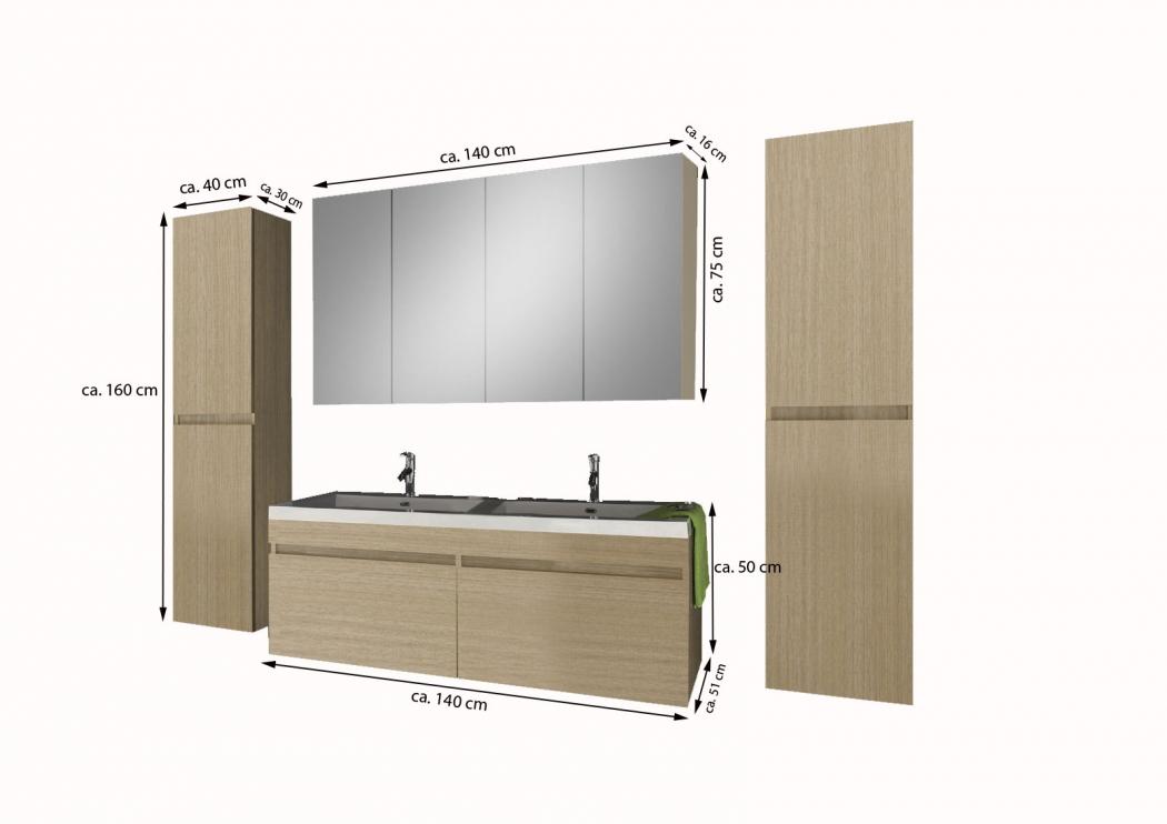 sam badm bel set 4tlg doppelwaschtisch 140 cm sonomaeiche parma demn chst. Black Bedroom Furniture Sets. Home Design Ideas