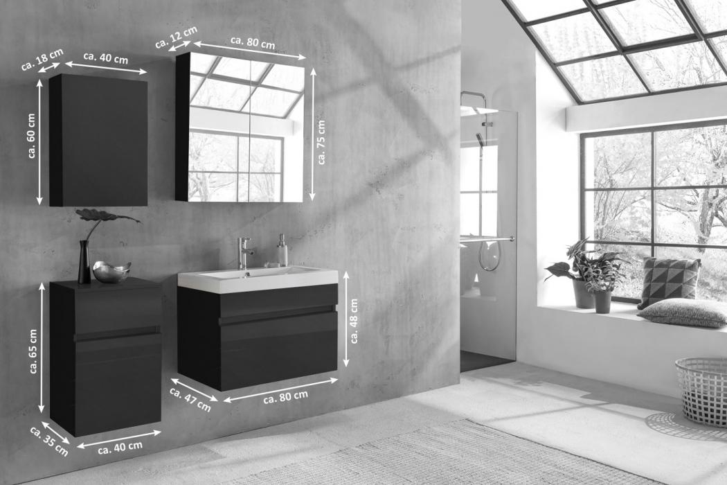sam badm bel set 4tlg waschtisch 80 cm hochglanz schwarz parma. Black Bedroom Furniture Sets. Home Design Ideas