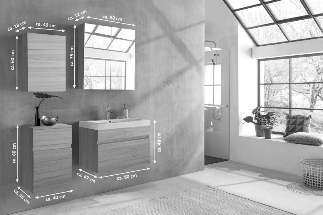sam badm bel set 4tlg waschtisch 80 cm sonomaeiche holzoptik parma demn chst. Black Bedroom Furniture Sets. Home Design Ideas