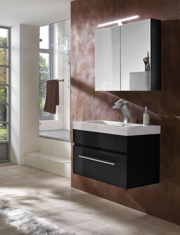 sam 2tlg badezimmer set spiegelschrank schwarz 80 cm lunar demn chst. Black Bedroom Furniture Sets. Home Design Ideas