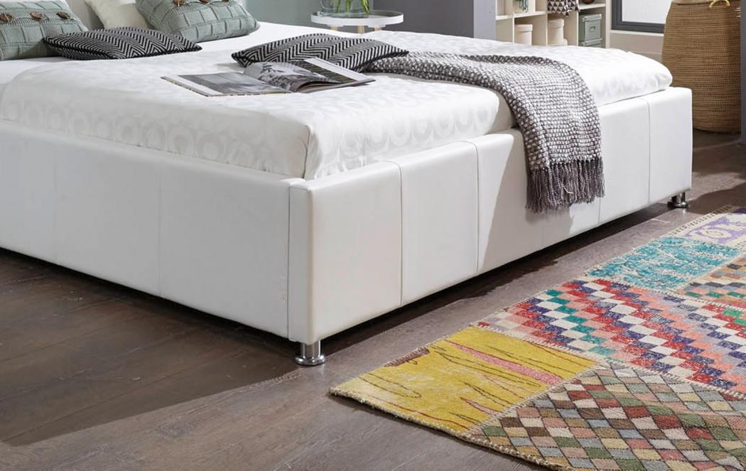 sam polsterbett wei 180 x 200 cm mit bettkasten. Black Bedroom Furniture Sets. Home Design Ideas