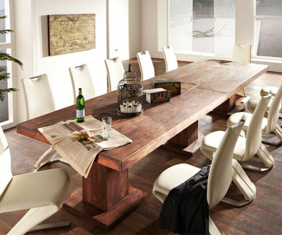 sam esstisch massivholztisch 300 x 120 cm akazie stone timber 6695. Black Bedroom Furniture Sets. Home Design Ideas