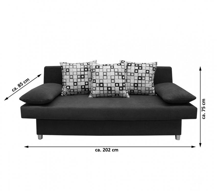 sam schlafsofa schwarz sofa 85 cm 140 cm x 202 cm dagobert. Black Bedroom Furniture Sets. Home Design Ideas