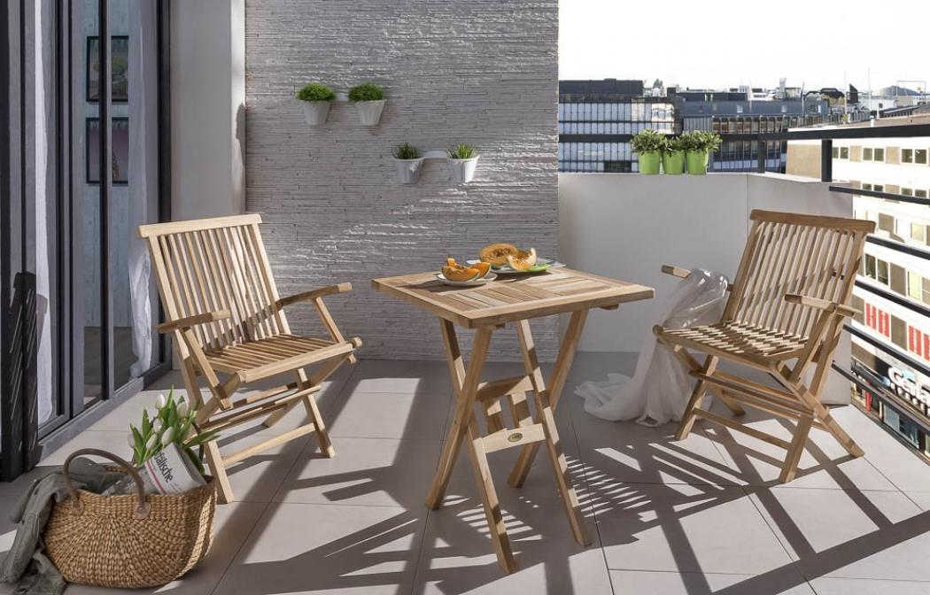 sam balkonm bel set teakholz 3tlg tisch 60 x 60 square. Black Bedroom Furniture Sets. Home Design Ideas