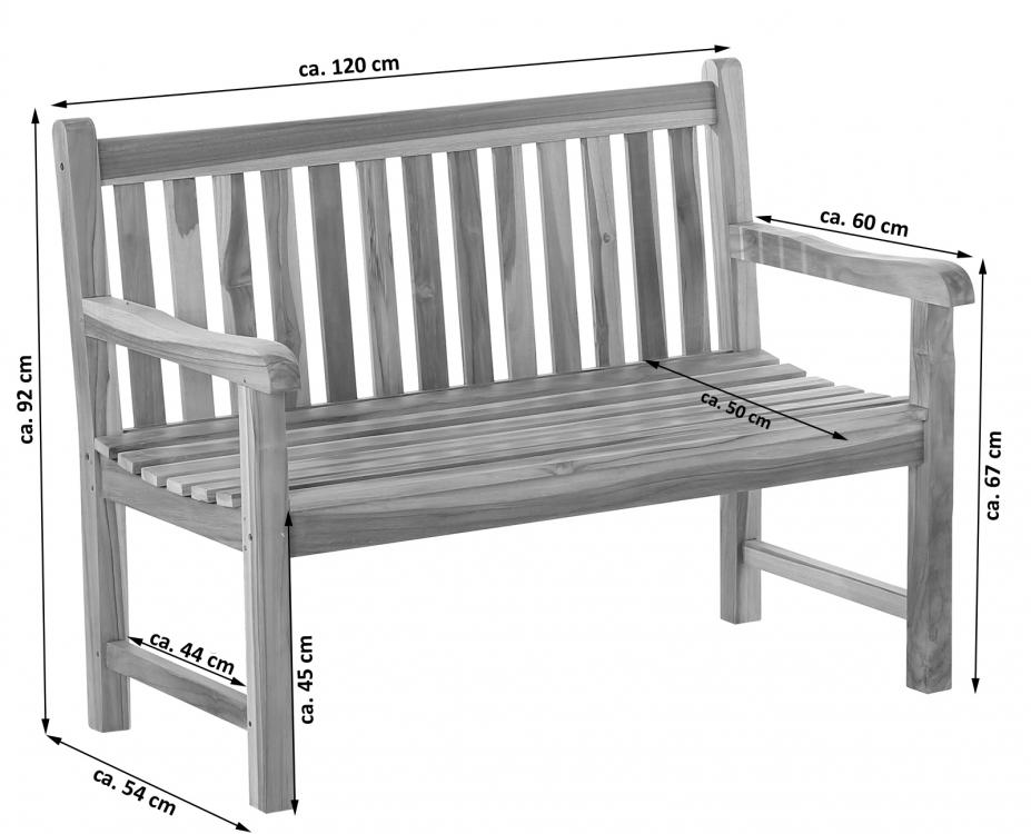 SAM® Gartenbank Teak-Holz 120 cm 2 Sitzer JAVA
