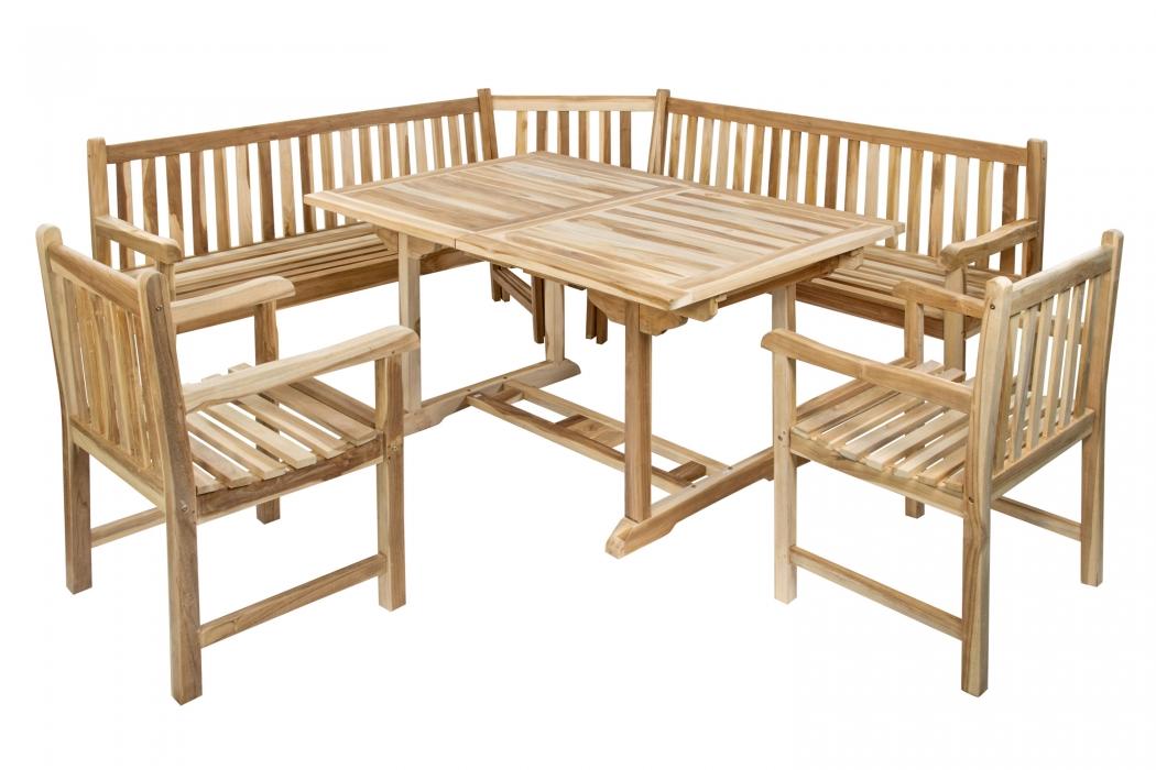 sam teak gartenm bel set eckbank holz 4 tlg tisch 120 cm madera. Black Bedroom Furniture Sets. Home Design Ideas