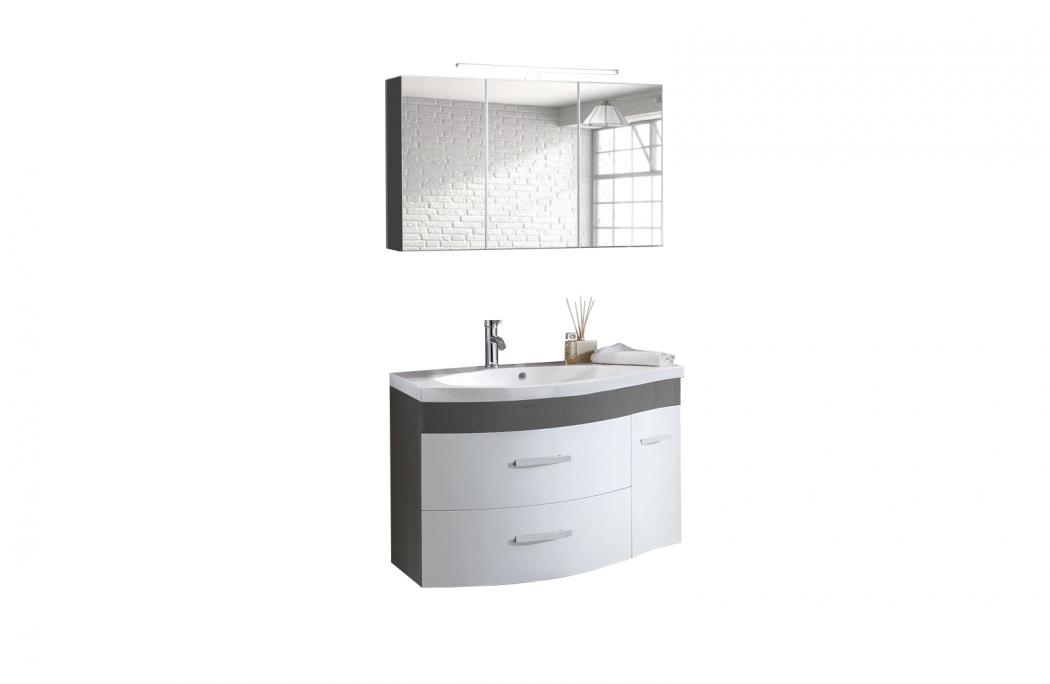 SAM® Badmöbel Set 2tlg Waschtisch 110 cm Hochglanz weiß grau Lugano