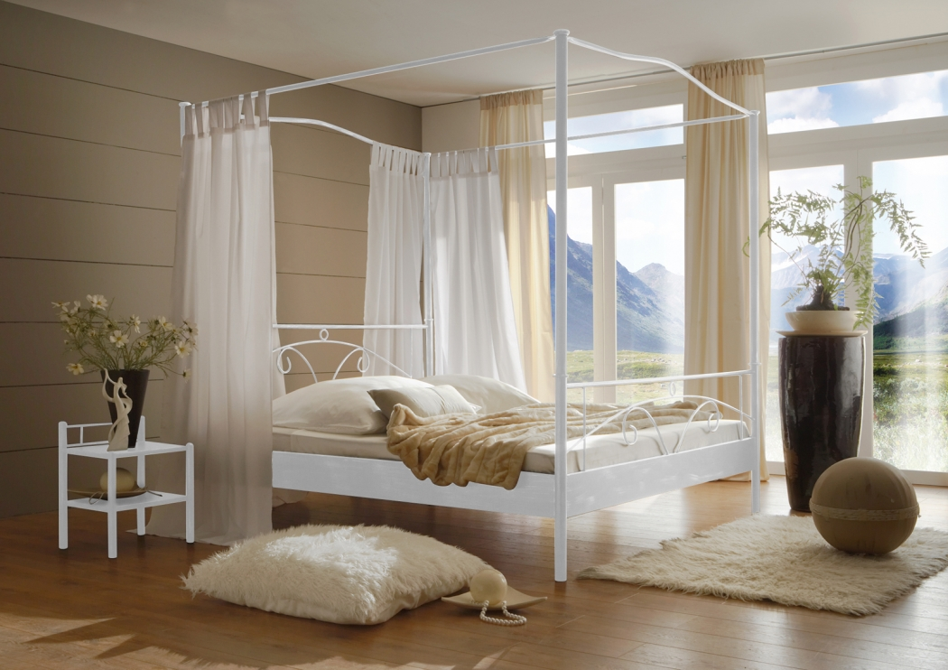 sam metall himmelbett wei 160 x 200 cm castello. Black Bedroom Furniture Sets. Home Design Ideas