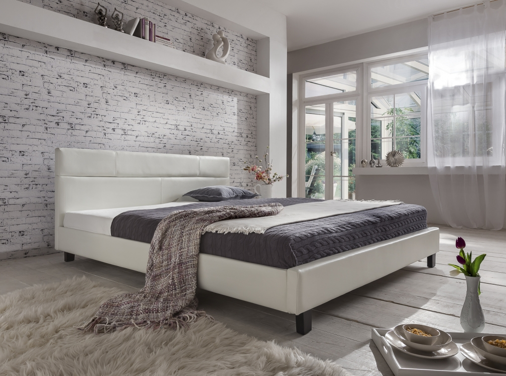 sale polsterbett wei doppelbett 180x200 cm g nstig pellisima. Black Bedroom Furniture Sets. Home Design Ideas
