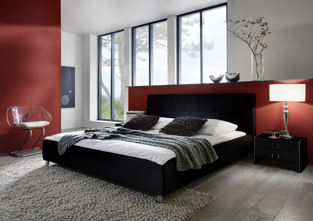 sam polsterbett doppelbett bett 200 x 200 cm schwarz zarah. Black Bedroom Furniture Sets. Home Design Ideas