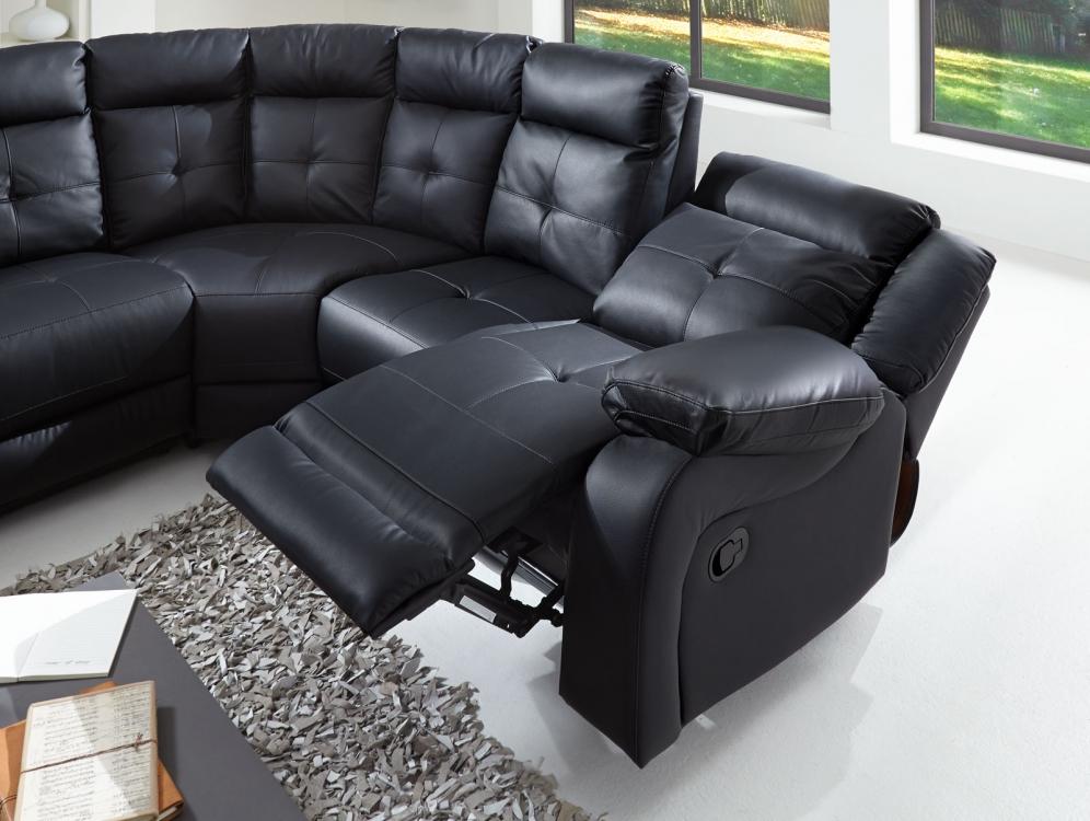 Sam ecksofa wohnlandschaft relaxsessel 190 cm schwarz alessio for Wohnlandschaft b ware