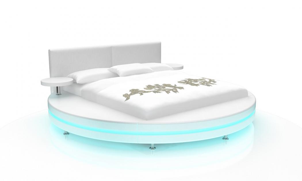 sam rundbett doppelbett led 160 x 200 cm wei gallo. Black Bedroom Furniture Sets. Home Design Ideas