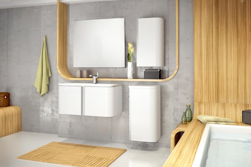 SAM® Badmöbel Set 4tlg Waschtisch 80 cm Hochglanz weiß FENIKS