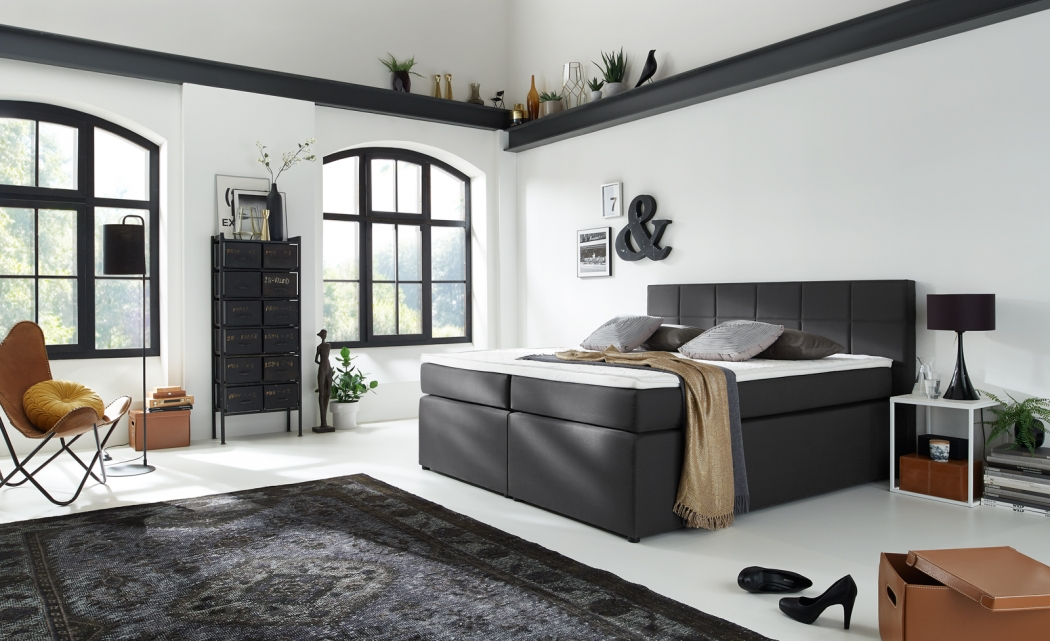 sam boxspringbett hotelbett 180 x 200 cm stoffbezug grau sassari demn chst. Black Bedroom Furniture Sets. Home Design Ideas
