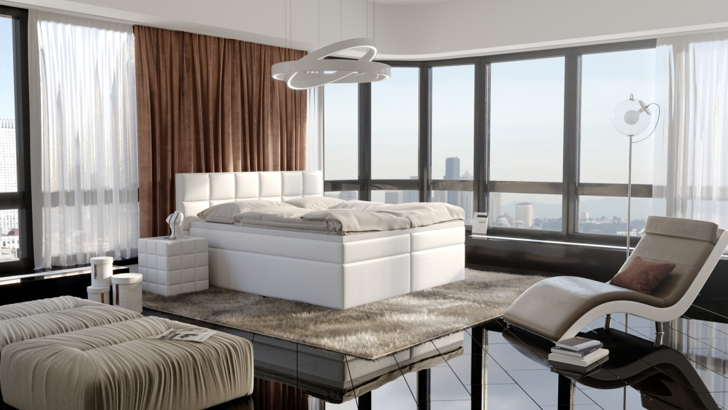sam boxspringbett mit led hotelbett 200 x 200 cm wei. Black Bedroom Furniture Sets. Home Design Ideas