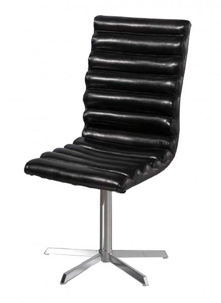 Esszimmerstuhl Drehstuhl Stuhl Orlando Kunstleder Chrom schwarz creme