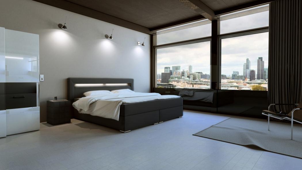 sam boxspringbett hotelbett beleuchtung 180 x 200 cm grau arizona demn chst. Black Bedroom Furniture Sets. Home Design Ideas