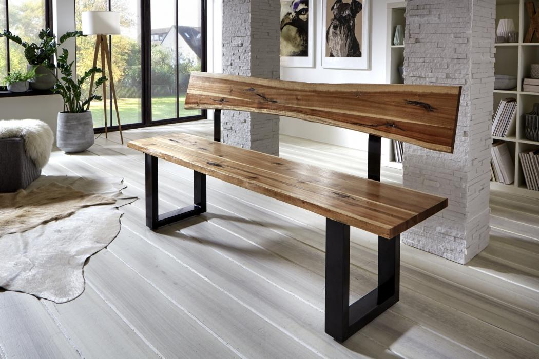 sam sitzbank baumkante mit r ckenlehne 180 cm akazie imke. Black Bedroom Furniture Sets. Home Design Ideas