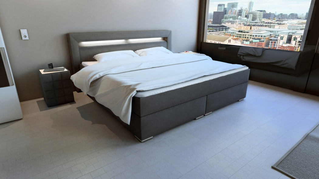 sam boxspringbett hotelbett led 180 x 200 cm grau stoff arizona. Black Bedroom Furniture Sets. Home Design Ideas