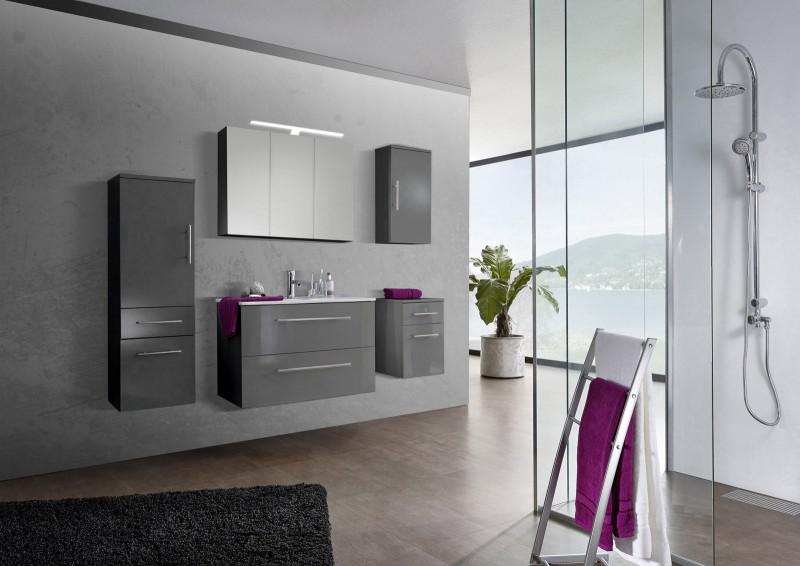 sam 5tlg badezimmer set spiegelschrank grau 90 cm verena. Black Bedroom Furniture Sets. Home Design Ideas