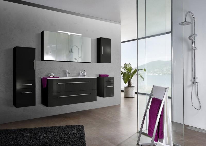 sam 5tlg badezimmer set spiegelschrank schwarz 120 cm verena demn chst. Black Bedroom Furniture Sets. Home Design Ideas