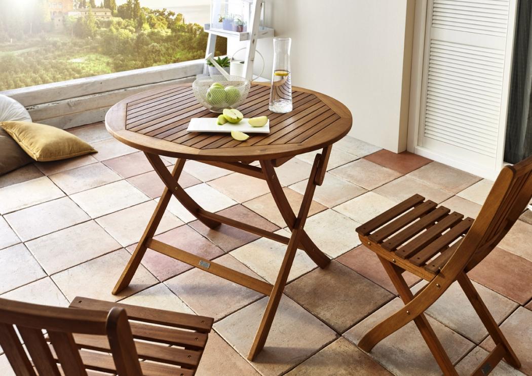 sale tisch gartentisch rund 100 cm massiv akazie fsc gladsaxe. Black Bedroom Furniture Sets. Home Design Ideas