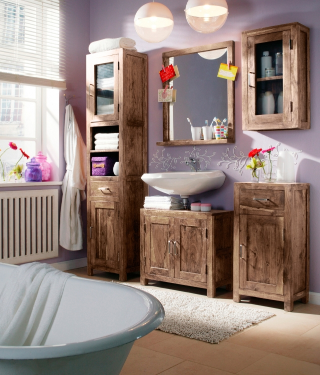 sale bad hochschrank holz akazie stone saber g nstig. Black Bedroom Furniture Sets. Home Design Ideas