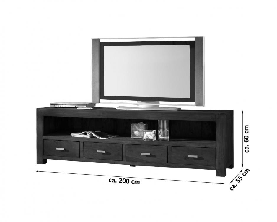 sale lowboard tv board 200 cm massivholz akazie tabak. Black Bedroom Furniture Sets. Home Design Ideas