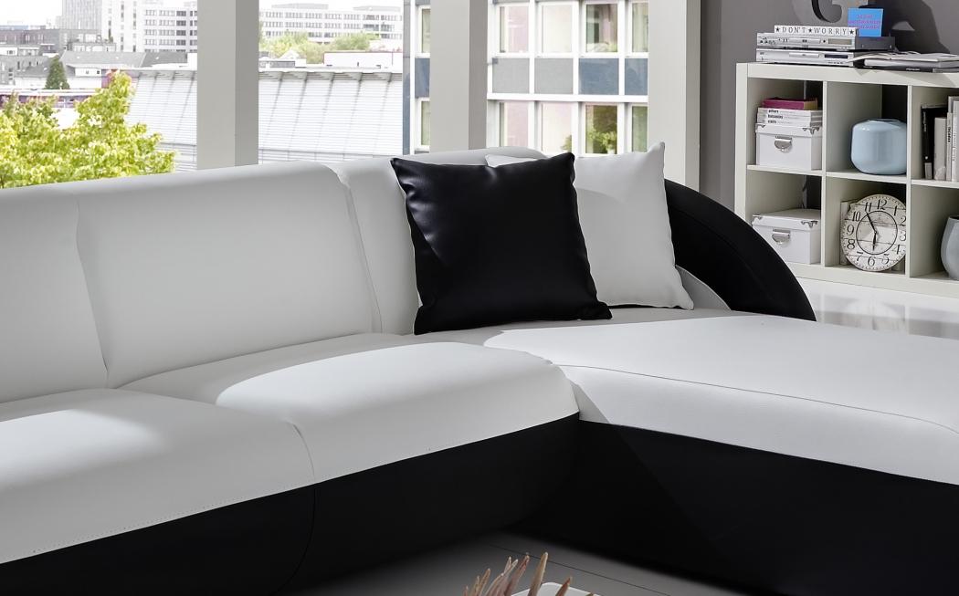 sale couch ecksofa polsterecke 236 x 180 cm wei schwarz onda l. Black Bedroom Furniture Sets. Home Design Ideas
