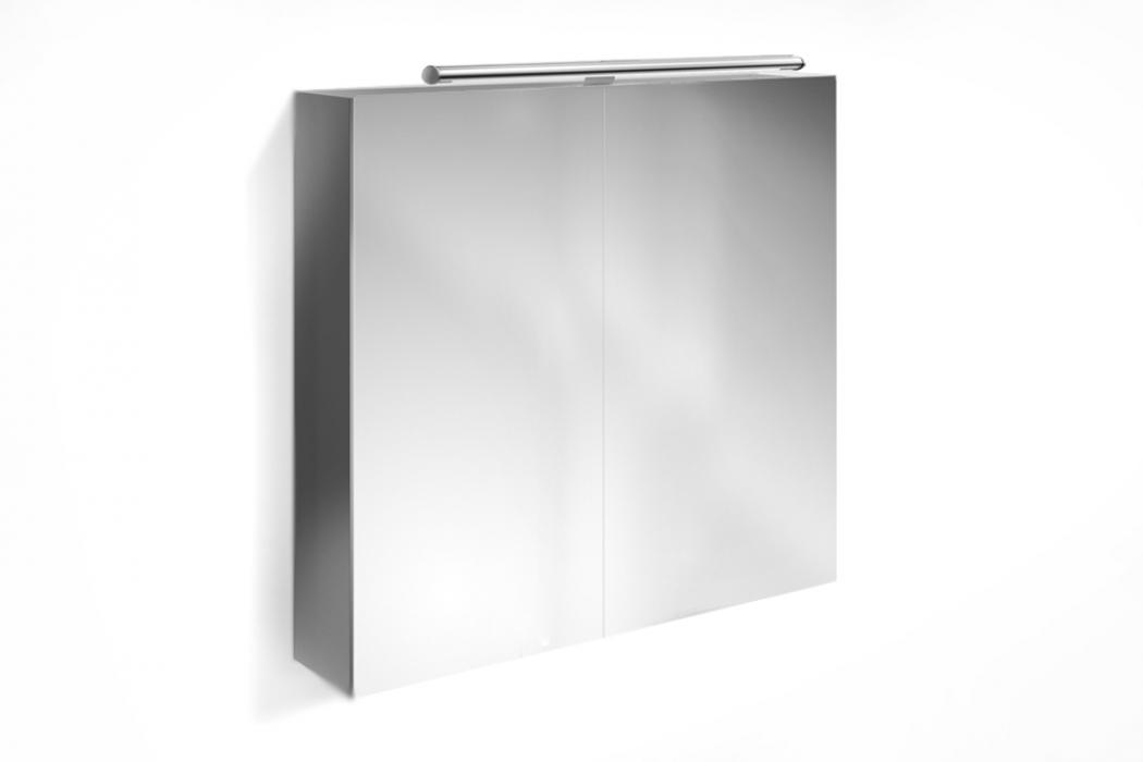 Sam badezimmer spiegelschrank 80 cm hochglanz grau verena for Bad spiegelschrank schwarz
