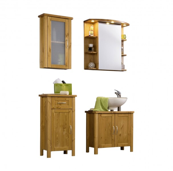 sam bad set honig massiv kiefer gewachst 4tlg venedig. Black Bedroom Furniture Sets. Home Design Ideas