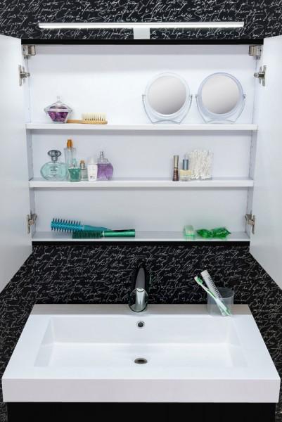 sam badezimmer set lunik 2tlg spiegel schwarz 80 cm. Black Bedroom Furniture Sets. Home Design Ideas