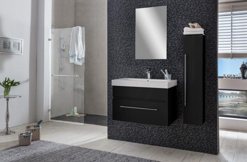 sam badezimmer set lunik 3tlg spiegelschrank schwarz 80 cm. Black Bedroom Furniture Sets. Home Design Ideas