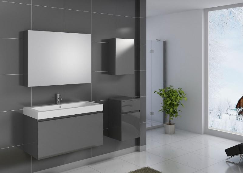 sam badm bel 4tlg set softclose grau hochglanz parma 100 cm demn chst. Black Bedroom Furniture Sets. Home Design Ideas