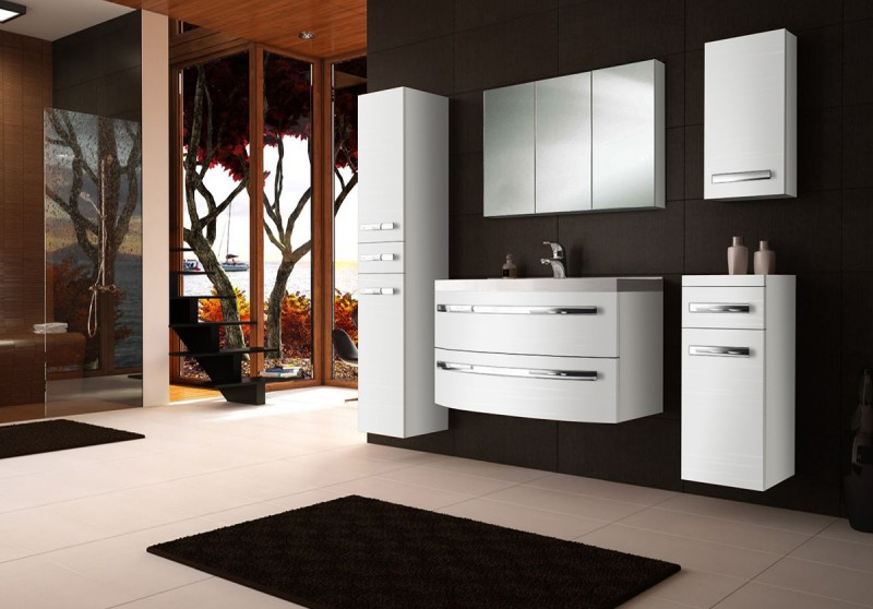 sam badm bel hochglanz wei 5tlg dynamic 90 cm. Black Bedroom Furniture Sets. Home Design Ideas