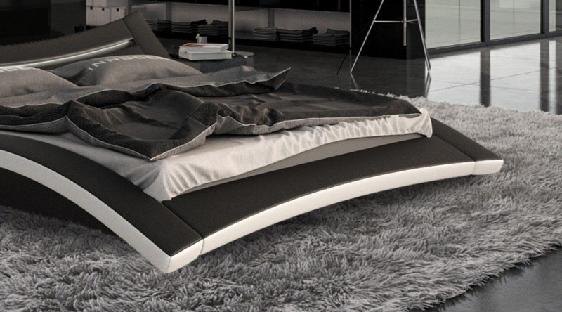 sam bett 140 x 200 cm in schwarz wei seducce led. Black Bedroom Furniture Sets. Home Design Ideas