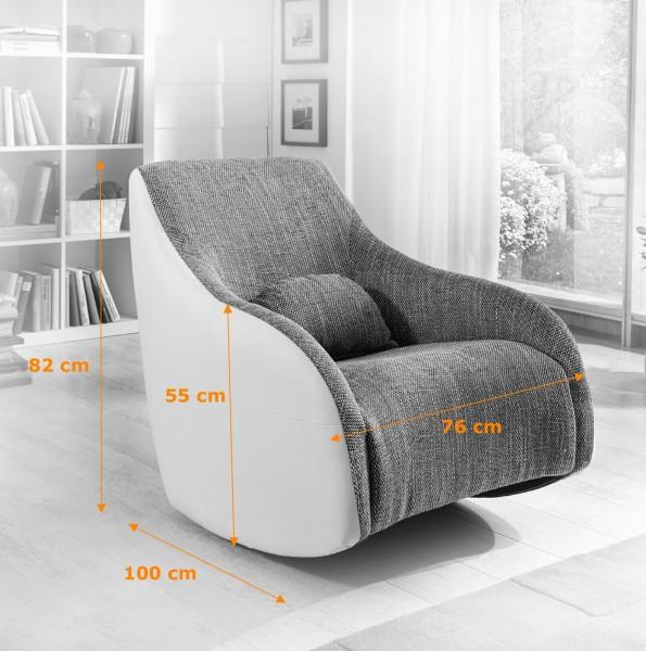 Sam design schaukelstuhl grau wei sessel sunny for Schaukelstuhl modernes design