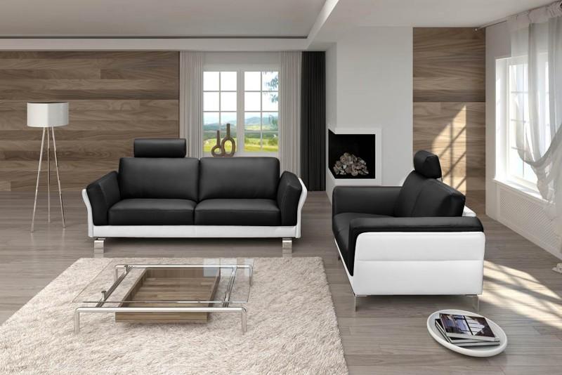 SAM® Design Sofa Garnitur 2 & 3 Sitzer schwarz weiß NEGRO
