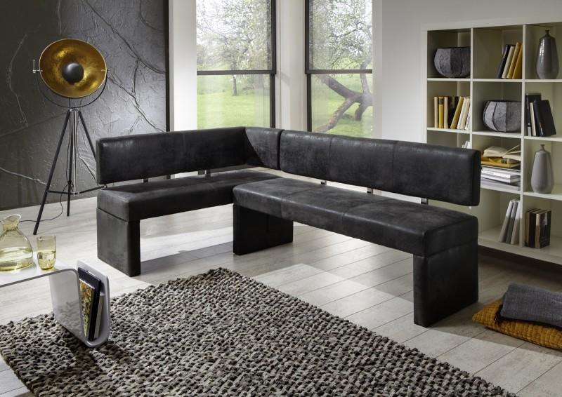 sam eckbank wildleder optik grau stoff 150 x cm lastella. Black Bedroom Furniture Sets. Home Design Ideas