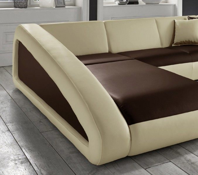 sam ecksofa braun creme ciao polsterecke 250 x 270 cm. Black Bedroom Furniture Sets. Home Design Ideas